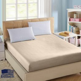 Простынь на резинке Jefferson Sateen Beige 90X200 Boston textile